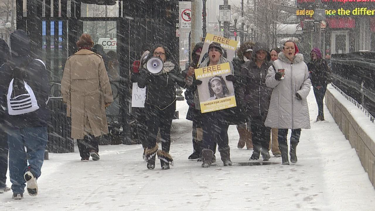 Human trafficking survivors braved the cold and snow Saturday for a survivor's march on Columbus at the Ohio Statehouse. The group marched on behalf of human trafficking survivor Alexis Martin. (WSYX/WTTE)