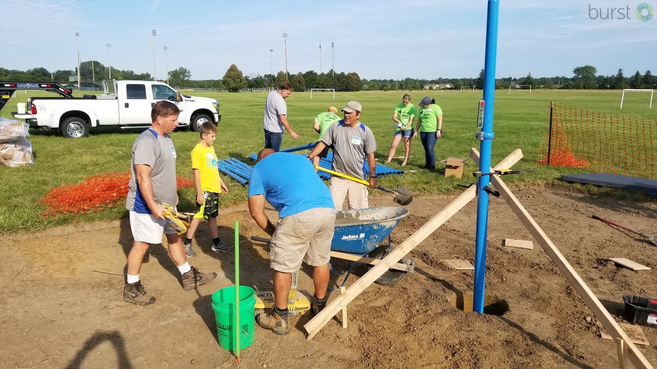 Crews were out to begin building one of two playgrounds to be completed this week. If some of these faces look familiar, that's because NBC25 and FOX66 partnered up with the Make an Impact Foundation for Monday's build. (Photo: WEYI/WSMH)