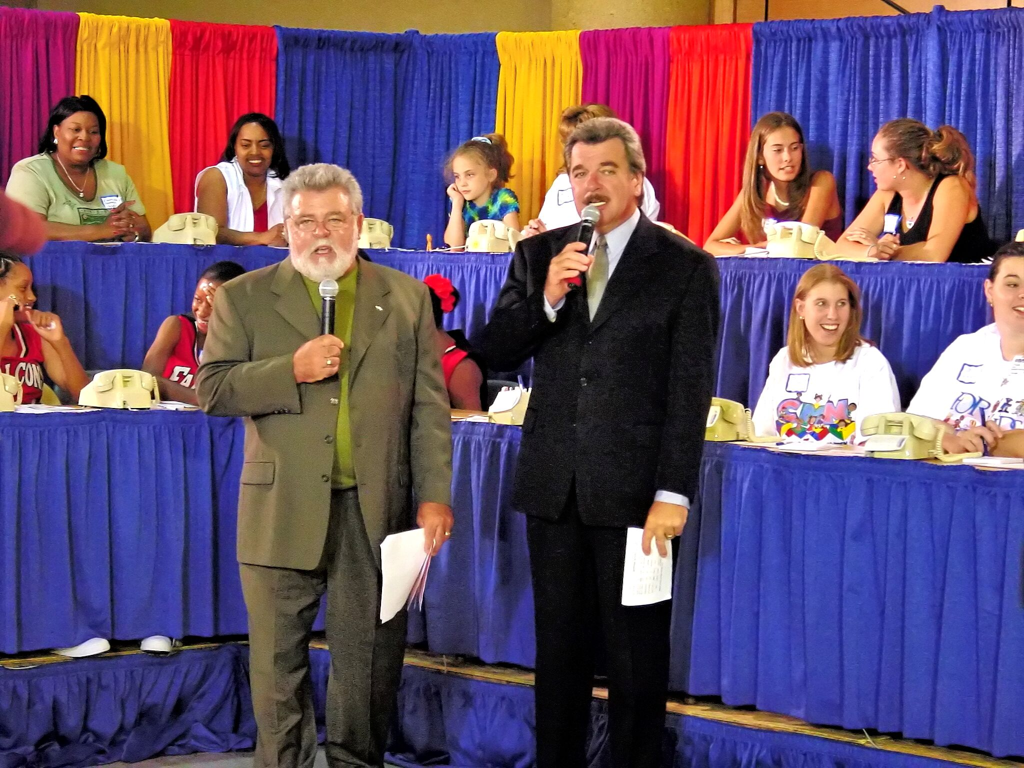 Broadcasting a telethon with Bob Johnson in the late 1990s. (Image via John Creel)<p></p>