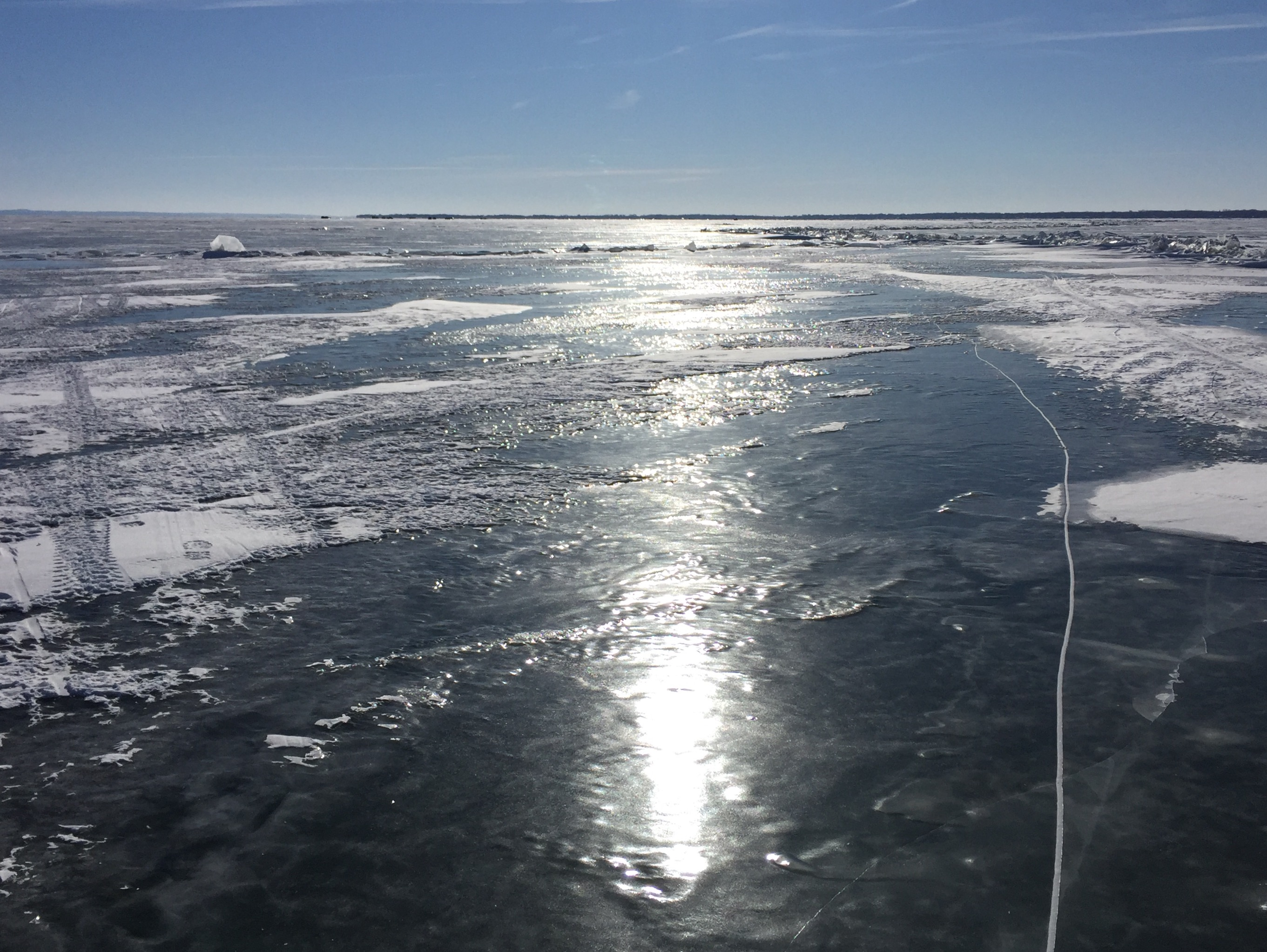 Ice cover on Lake Winnebago near Oshkosh, January 2, 2018 (WLUK/Eric Peterson)