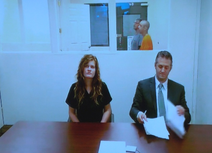 Michelle Burt is seen at a preliminary hearing. (KEPR-TV News photo)