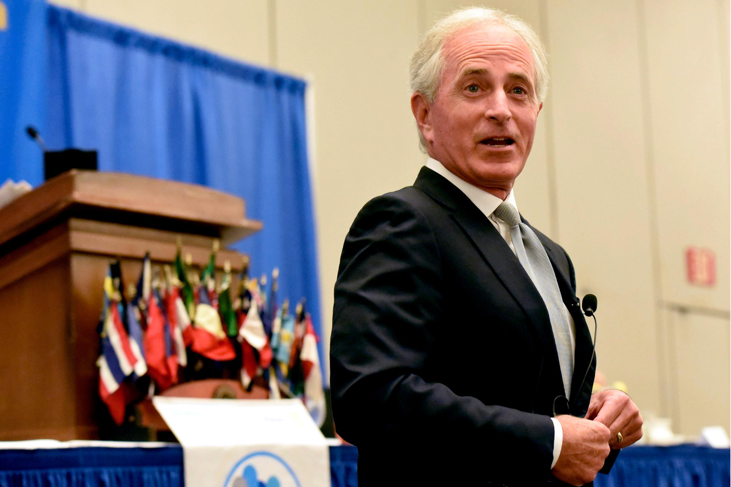 Sen. Bob Corker, R-Tenn. takes questions from attendees at the Rotary Club of Chattanooga, Tenn., Thursday, Aug. 17, 2017.  Bombarded by the sharpest attacks yet from fellow Republicans, President Donald Trump on Thursday, Aug. 17, 2017, dug into his defense of racist groups by attacking members of own party and renouncing the rising movement to pull down monuments to Confederate icons. (Tim Barber/Chattanooga Times Free Press via AP)/Chattanooga Times Free Press via AP)