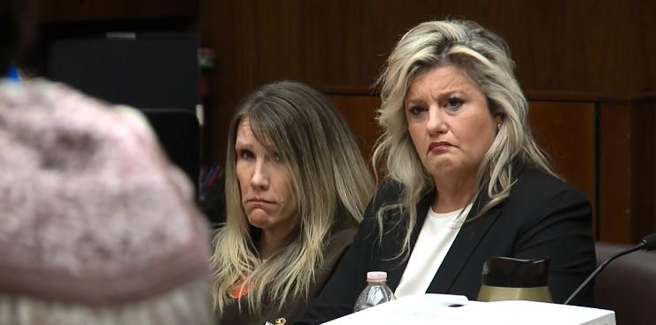 Sabrina Limon, left, sits in court in Bakersfield, Calif., Wednesday, Feb. 21, 2018. She was convicted last fall in the murder of her husband while conspiring with her lover, Jonathan Hearn. A judge on Wednesday denied her motion for a new trial and sentenced her to 25 years to life in prison. (KBAK/KBFX photo)