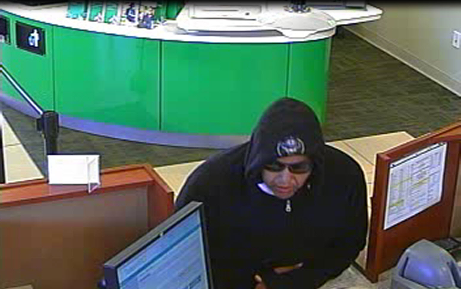 This surveillance image shows the man suspected of trying to rob the Associated Bank at 1482 W. Mason St., in Green Bay, June 21, 2018. (Image courtesy Green Bay Police Dept.)