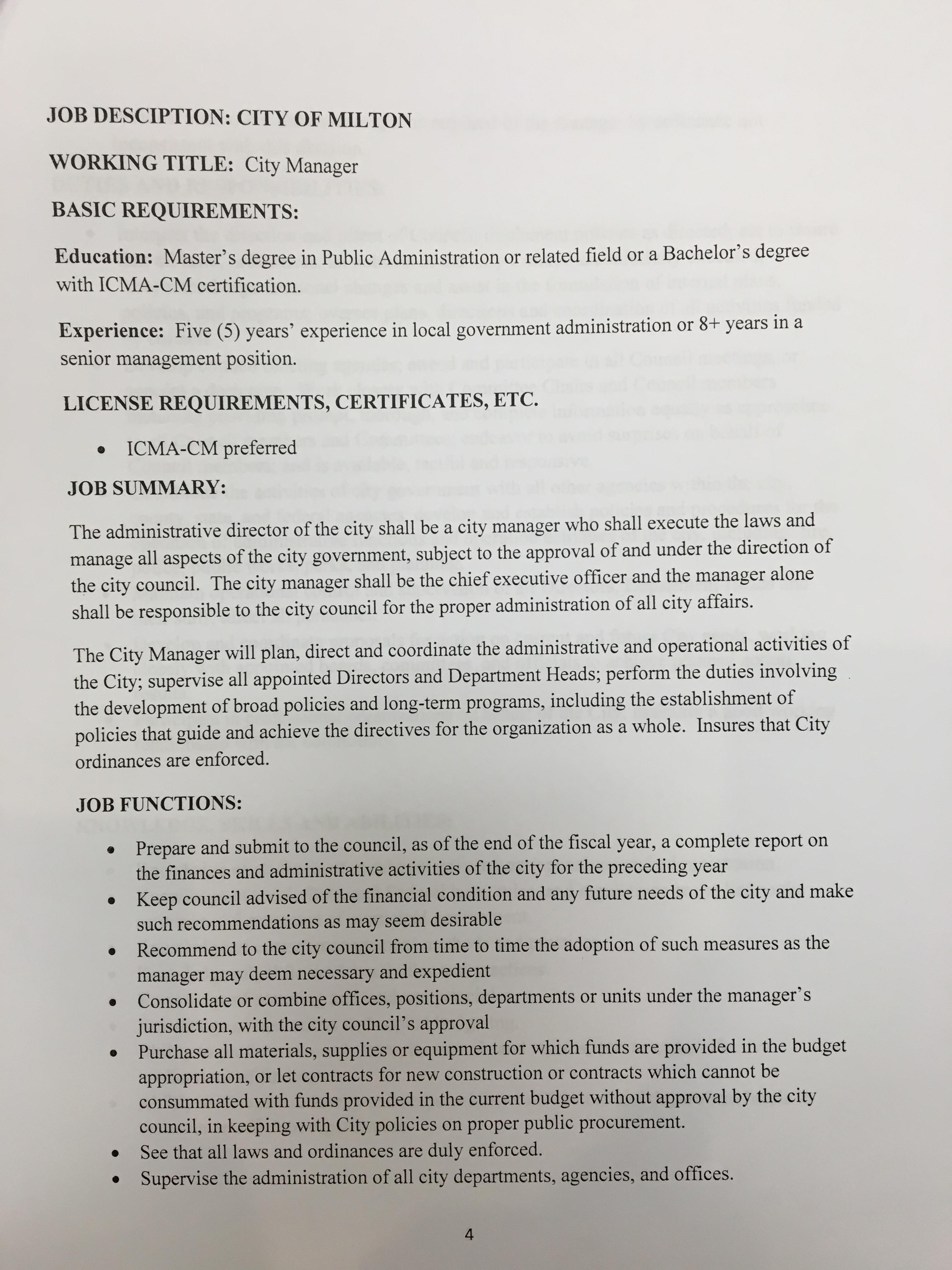 Recruitment and Retention City Manager Position Memorandum - Page 4