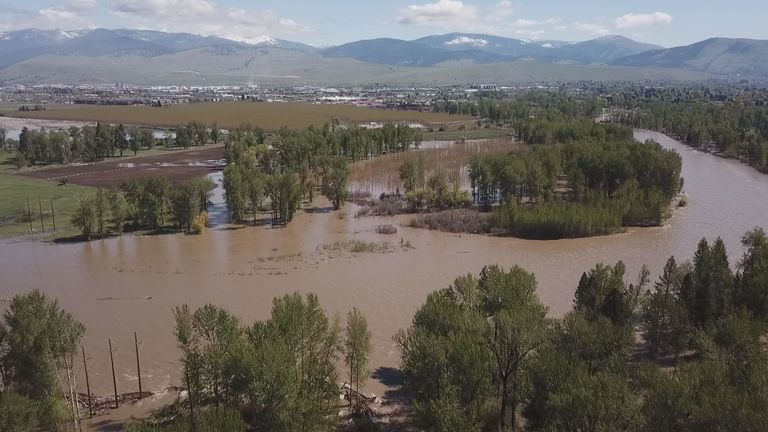 Missoula's Tower St. neighborhood flooding from Clark Fork River