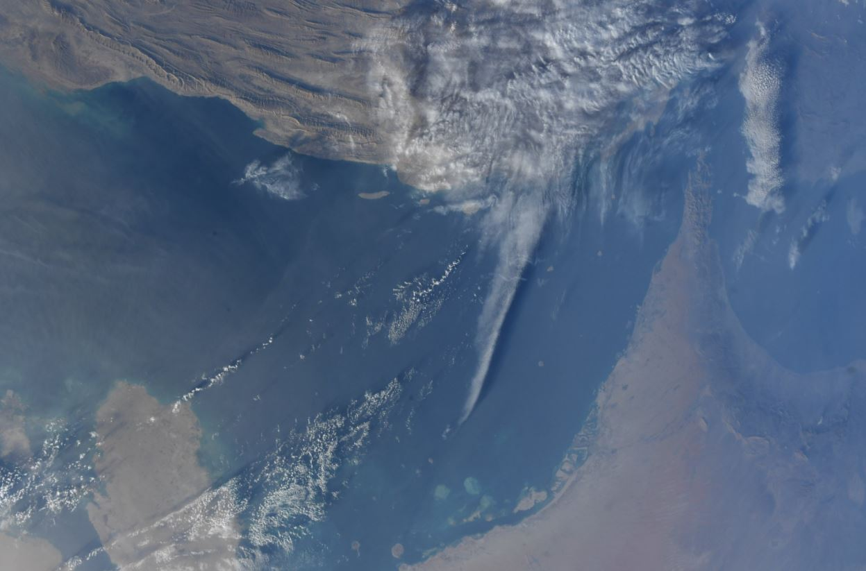 The Persian Gulf, UAE, Bahrain, Iran, the Straits of Hormuz and the Indian Ocean in daylight. (Photo & Caption via Scott D. Tingle // NASA)