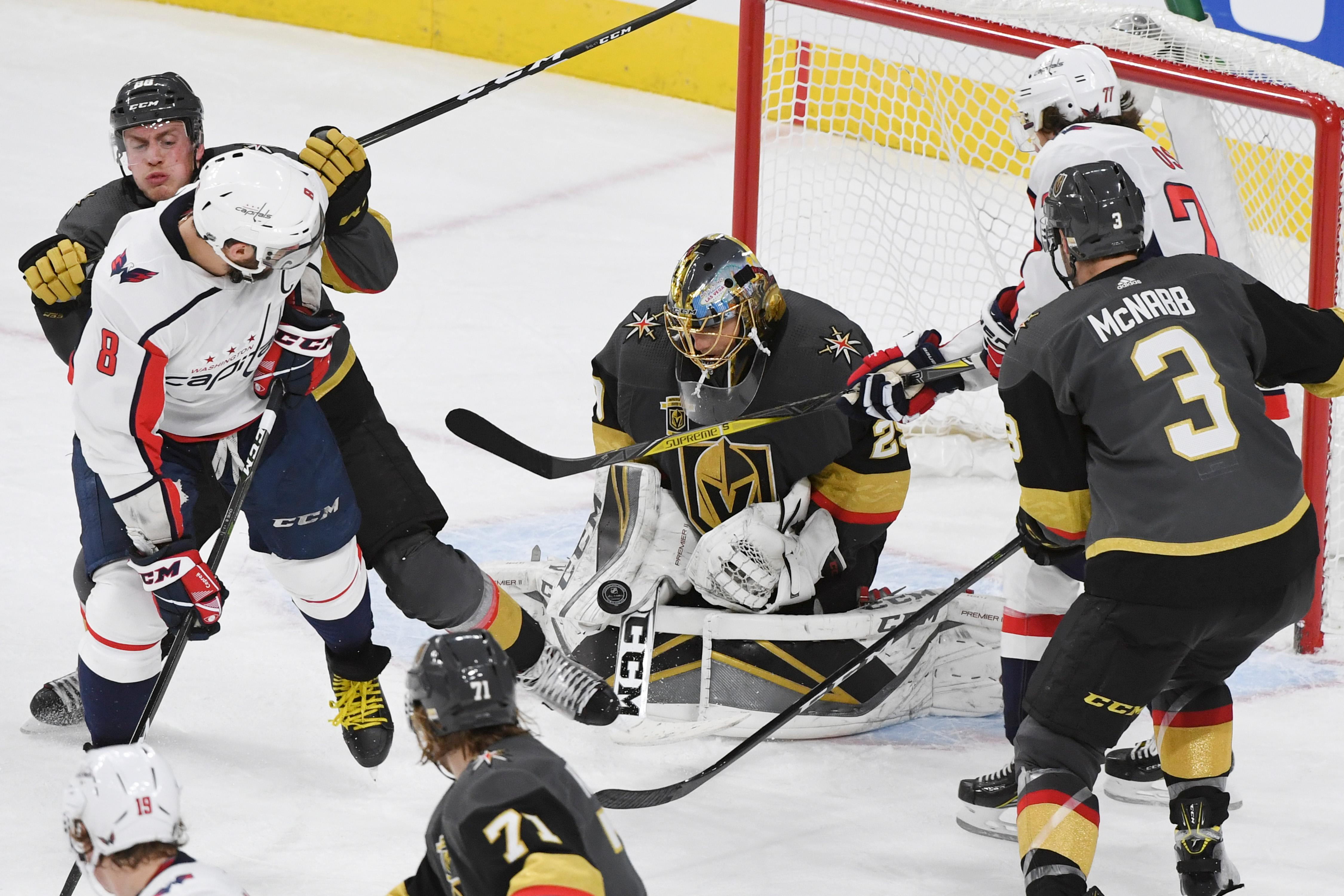 Vegas Golden Knights goalie Marc-Andre Fleury (29) makes a stop against the Washington Capitals during their NHL hockey game Saturday, December 23, 2017, at T-Mobile Arena in Las Vegas.  CREDIT: Sam Morris/Las Vegas News Bureau