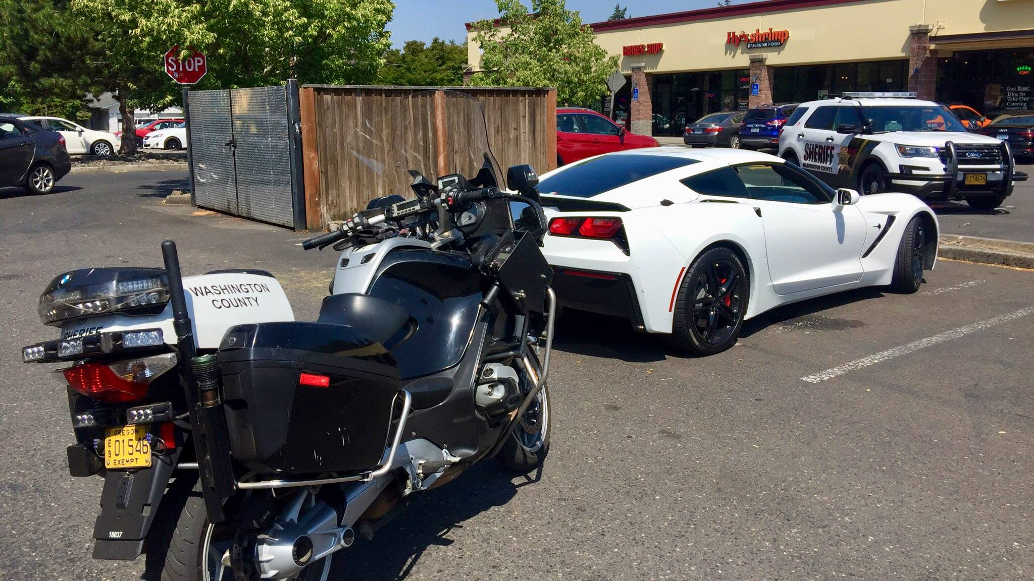 Corvette pulled over in Hillsboro (Photo from Hillsboro Police)<p></p>