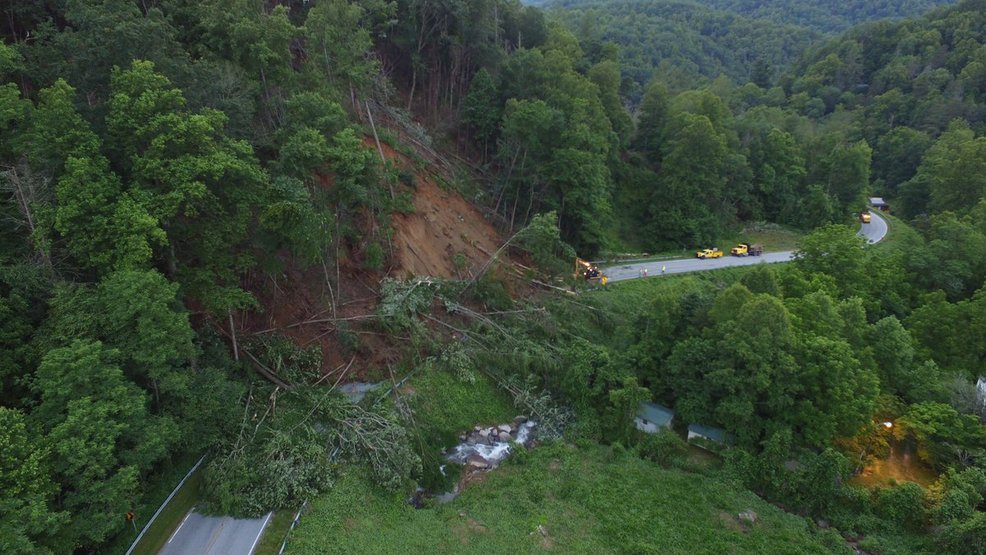 The N.C. Department of Transportation (NCDOT) has contracted{ }Graham County Land Company to clear a large landslide that has shut down N.C. 9. (Photo credit: BroadRiver sUAS Emergency Response Team or Broad River Fire Department)