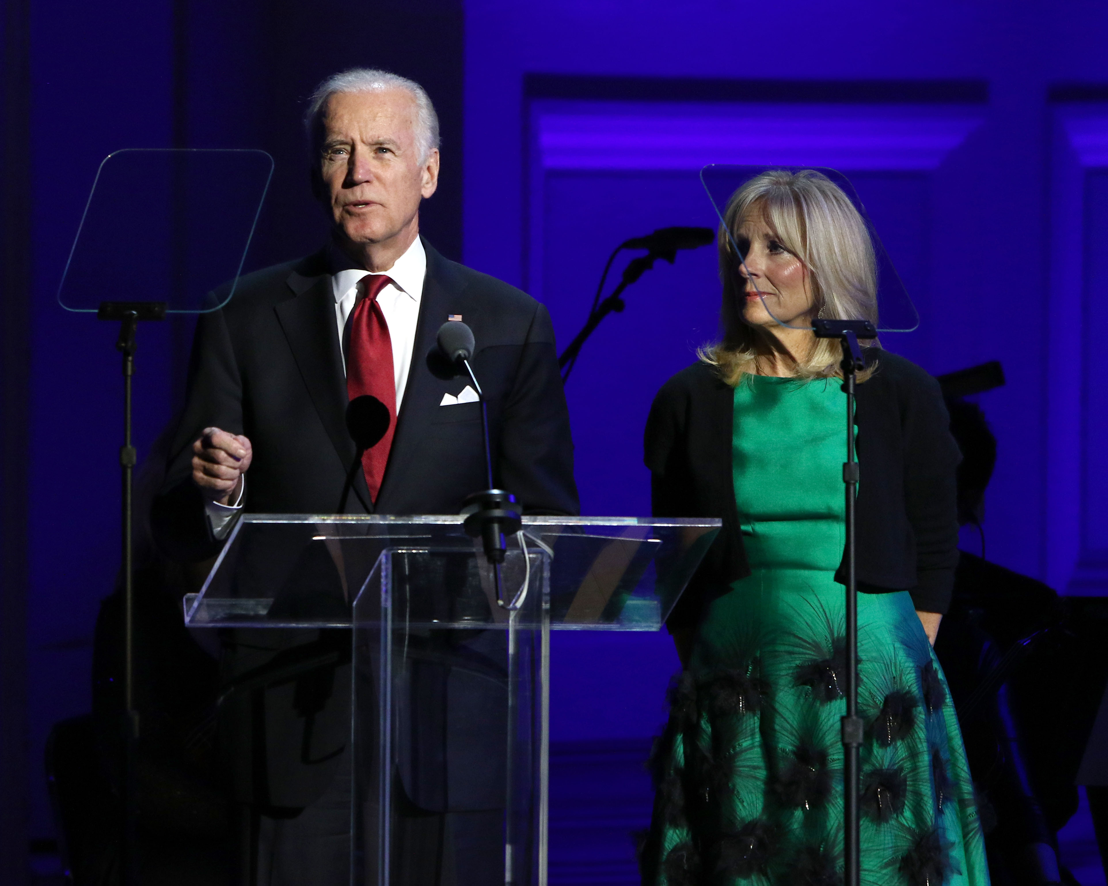 "Vice President Joe Biden, left, and Jill Biden speak at ""It Always Seems Impossible Until It Is Done: A Night of Music with ONE and (RED)"", in celebration of World AIDS Day, at Carnegie Hall on Tuesday, Dec. 1, 2015, in New York. (Photo by Greg Allen/Invision/AP)"