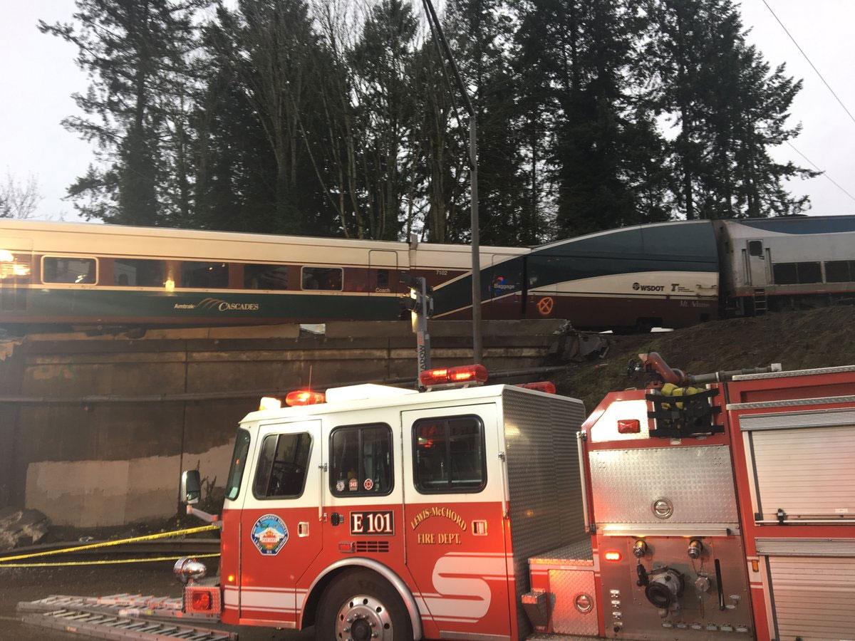 Three people were killed when an Amtrak train derailed near DuPont, Wash. Monday, Dec. 18, 2017. (Photo: Pierce County Sheriff's Department)