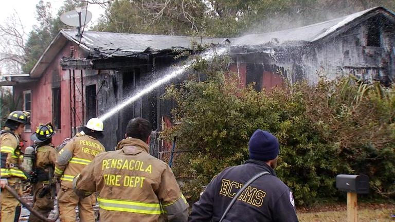 Photo: Pensacola Fire Department crews respond to a residential fire on West Gadsden St. in Pensacola on Sunday, Jan. 7th, 2017 Source: WEAR Max Nadsady