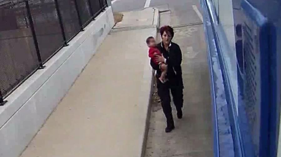 Video surveillance of a baby wandering streets rescued by MCTS bus driver, December 22, 2018. (Photo courtesy of Milwaukee County Transit System)