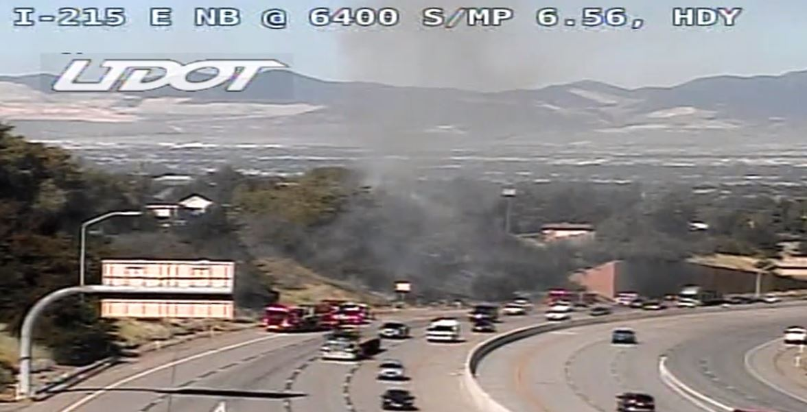 A fire burst into flames near Interstate 215 in Salt Lake. (Photo: Screengrab form UDOT)