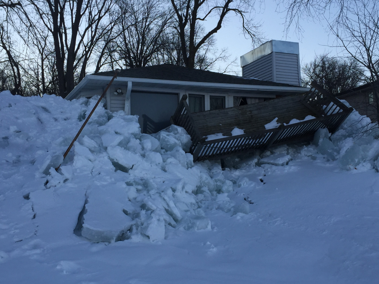 Justin Steinbrinck spent the morning in Stockbridge to see the damage, and hear about how waterfront property owners deal with and prepare for this annual winter phenomenon. (March 3, 2017/ Justin Steinbrinck)