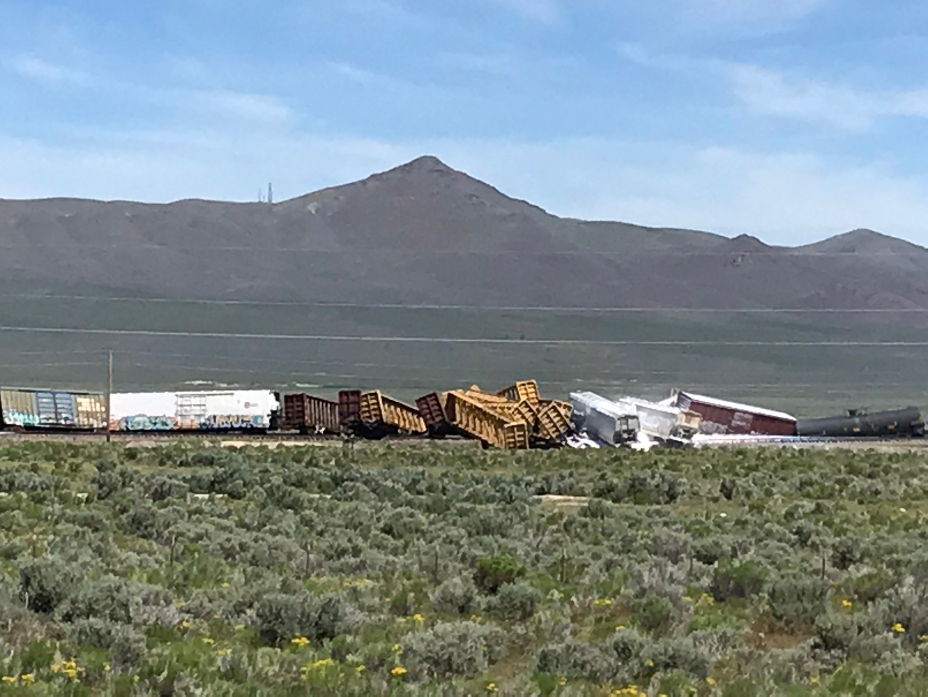 A various material spill of munitions closed Interstate 80 in both directions after a train derailed on late Wednesday morning in Elko County, Nevada. (Photo Courtesy of Nevada Highway Patrol)