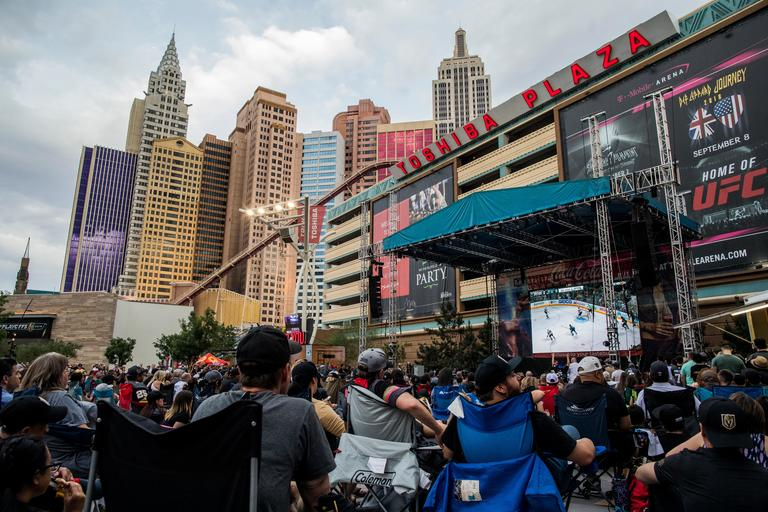 Vegas Golden Knights fans watch Game 6 of the NHL hockey second-round playoffs on Sunday, May 6, 2018 during a watch party event at Toshiba Plaza outside T-Mobile Arena. The Golden Knights shut out the San Jose Sharks to advance to the Western Conference Finals. CREDIT: Joe Buglewicz/Las Vegas News Bureau