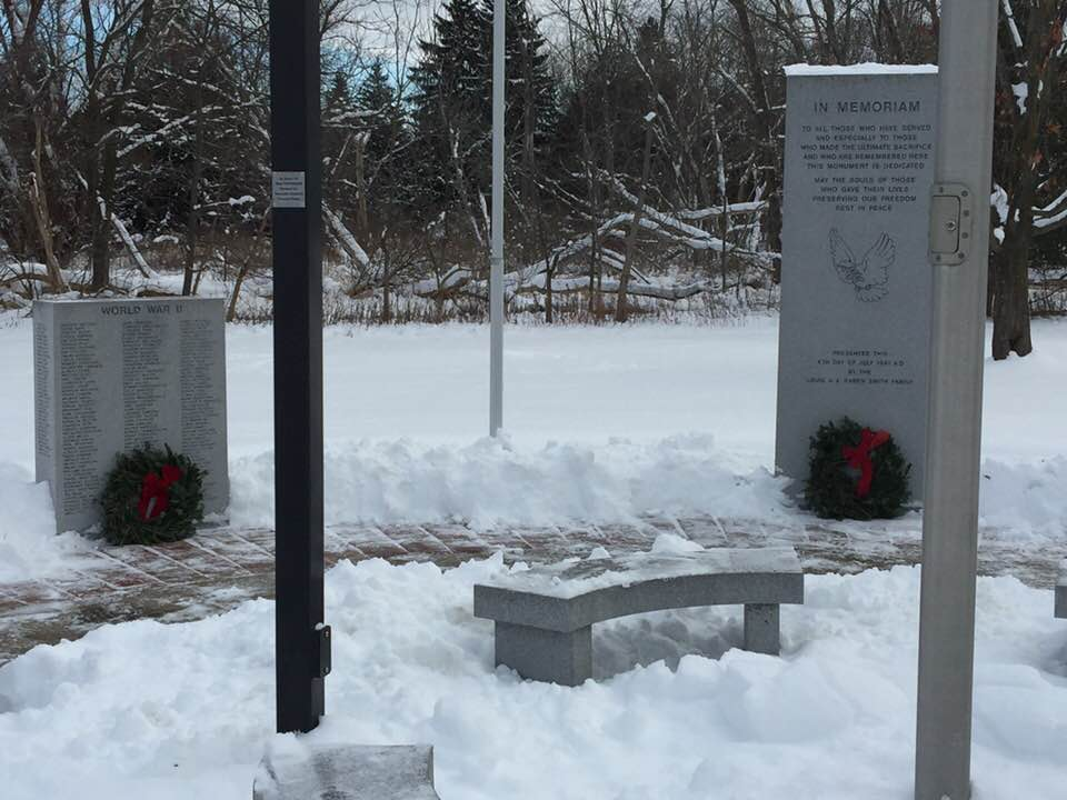Dozens of people came to help lay wreaths Saturday morning at the Veterans Memorial Park. Photo Courtesy: George Champlin