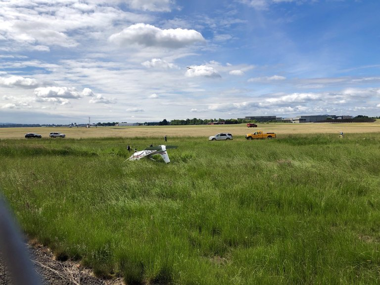 Small airplane with student and instructor inside crashes at Hillsboro Airport (KATU photo)<p></p>