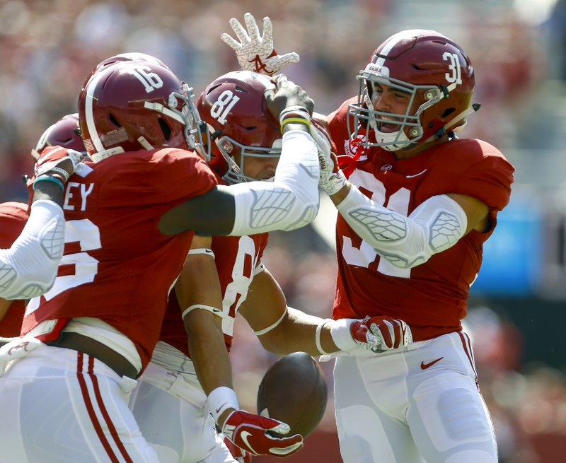 <p>Alabama wide receiver Derek Kief (81) celebrates with teammates after blocking a punt against Louisiana-Lafayette during the first half of an NCAA college football game, Saturday, Sept. 29, 2018, in Tuscaloosa, Ala. (AP Photo/Butch Dill)</p>