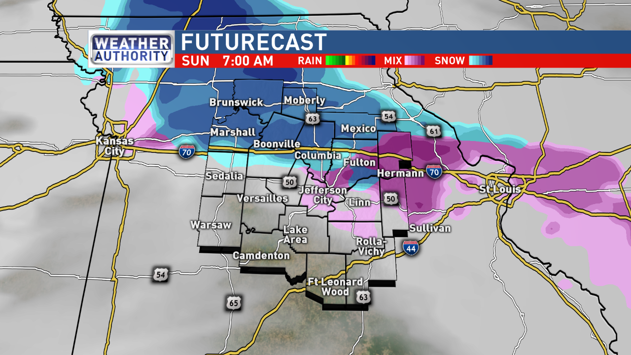 Snapshot of Futurecast at 7 a.m. Sunday<p></p>
