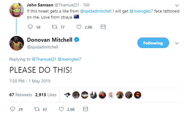 Donovan Mitchell liked Sam Johnson's tweet minutes after Joe Ingles alerted him to it. (Photo: Twitter screengab)