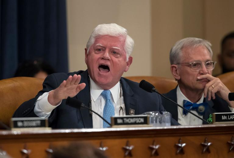 "Rep. John Larson, D-Conn., joined at right by Rep. Earl Blumenauer, D-Ore., questions House Ways and Means Committee Chairman Kevin Brady, R-Texas, saying that ""This is not an honorable time or day for this committee,"" as the panel begins the markup process of the GOP's far-reaching tax overhaul, on Capitol Hill in Washington, Monday, Nov. 6, 2017. (AP Photo/J. Scott Applewhite)"