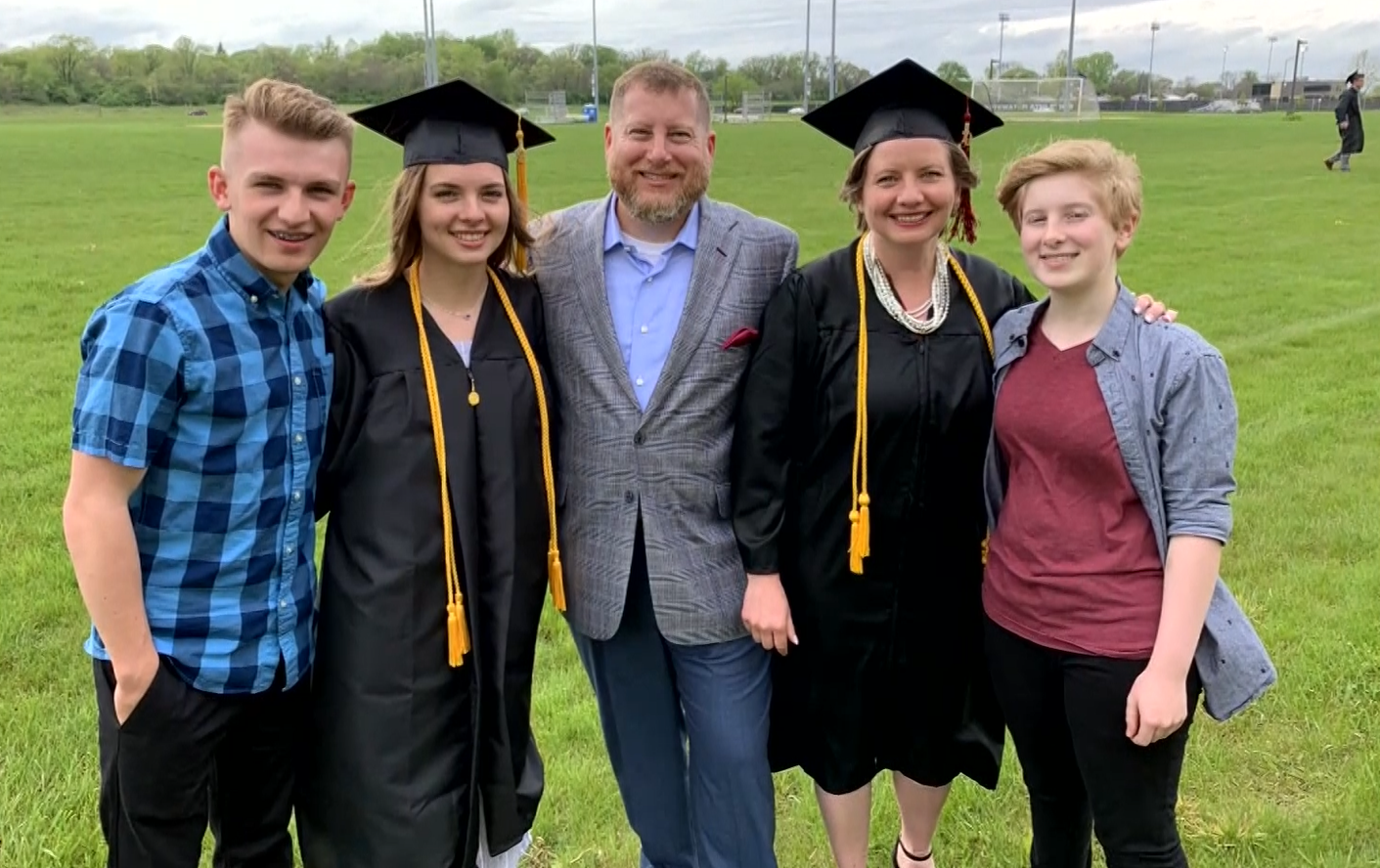 A mother and daughter walked across the graduation stage together at the University of Wisconsin-Whitewater's commencement ceremony (WMTV/CNN Newsource)