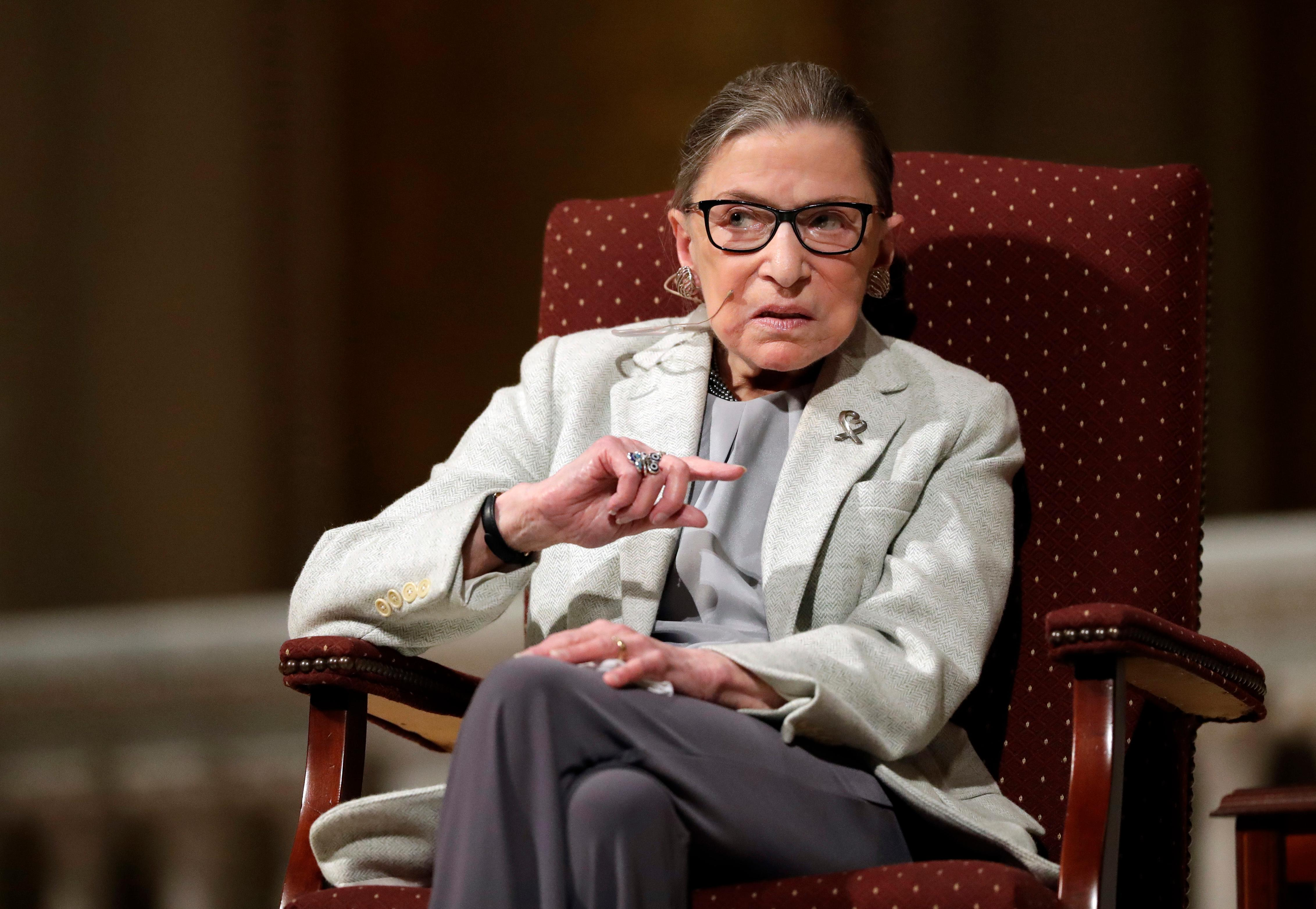 FILE - In this Feb. 6, 2017 file photo, Supreme Court Justice Ruth Bader Ginsburg speaks at Stanford University in Stanford, Calif. In different circumstances, Ginsburg might be on a valedictory tour in her final months on the Supreme Court. But in the era of Donald Trump, the 84-year-old Ginsburg is packing her schedule and sending signals she intends to keep her seat on the bench for years. (AP Photo/Marcio Jose Sanchez, File)