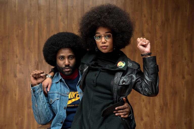 John David Washington stars as Ron Stallworth and Laura Harrier as Patrice in Spike Lee's BlacKkKlansman, a Focus Features release. (Photo: David Lee / Focus Features)