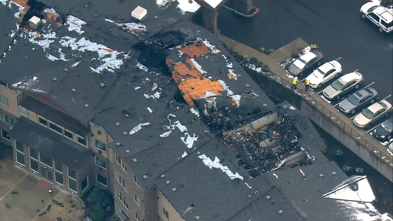 Damage from a fire that burned a senior living complex in Milton (Photo: KOMO News/Air 4)