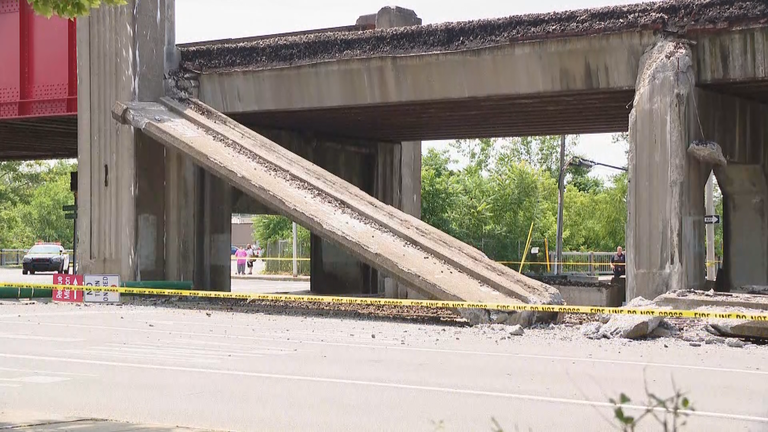 A portion of a railroad bridge collapsed in Syracuse Thursday. (Photojournalist Quindell Williams)