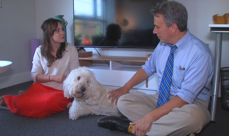 Meghan Johnson brings her dog Barry with her to work on a regular basis.{ }(Clemmer/KTUL)