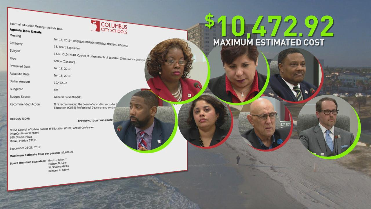 A trip to Miami, listed on Tuesday's school board meeting's agenda as professional development, takes place just before school board president Gary Baker and member Shawna Gibbs leave office and will cost more than $10,000. (WSYX/WTTE)
