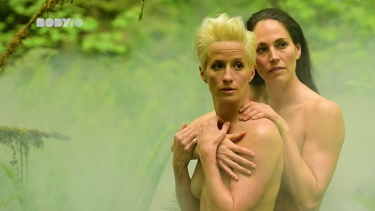 Professional athletes Sue Bird, right, and Megan Rapinoe appear together as the first same sex couple on the cover of ESPN The Magazine's Body Issue, 2018. Image courtesy ESPN.