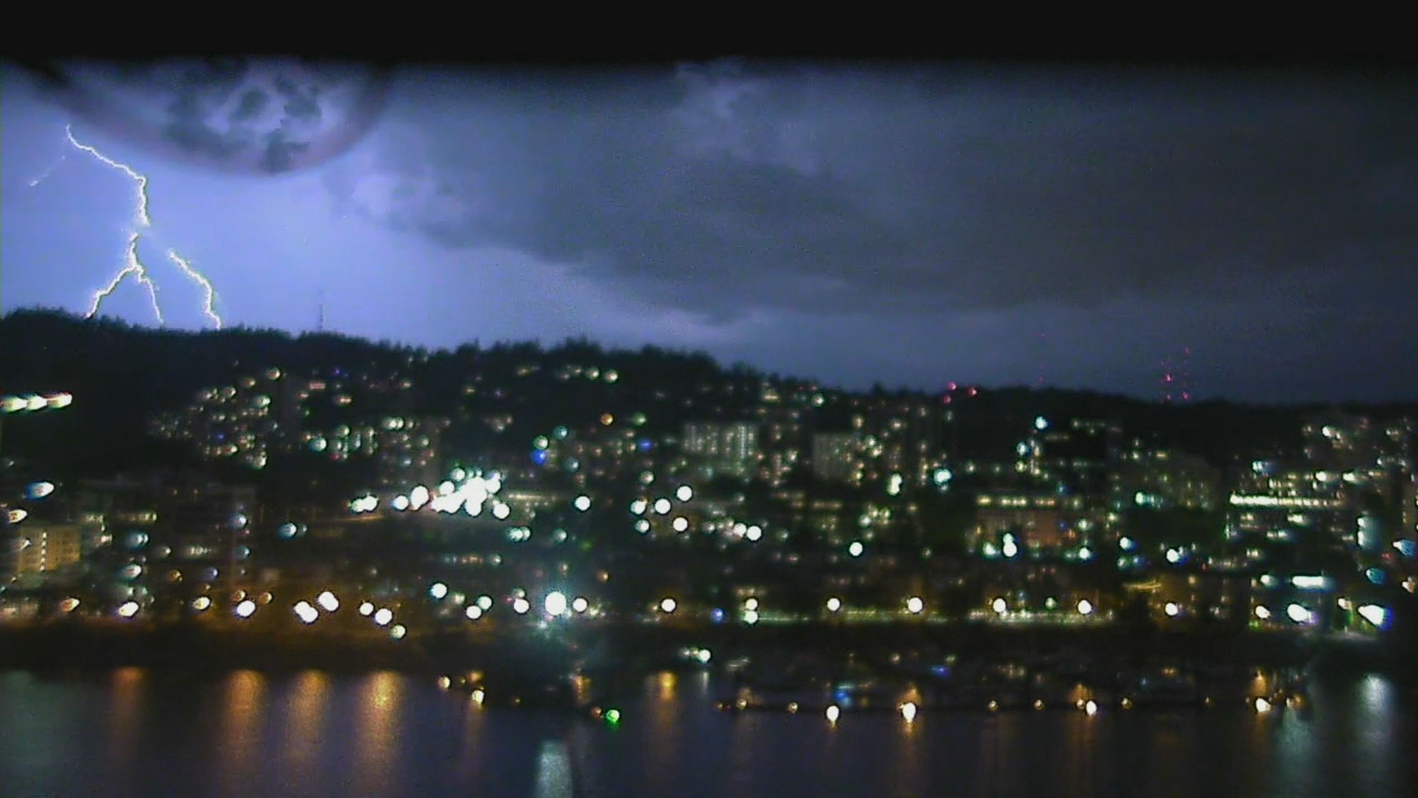 Lightning strike over Portland's West Hills on Wednesday, June 20