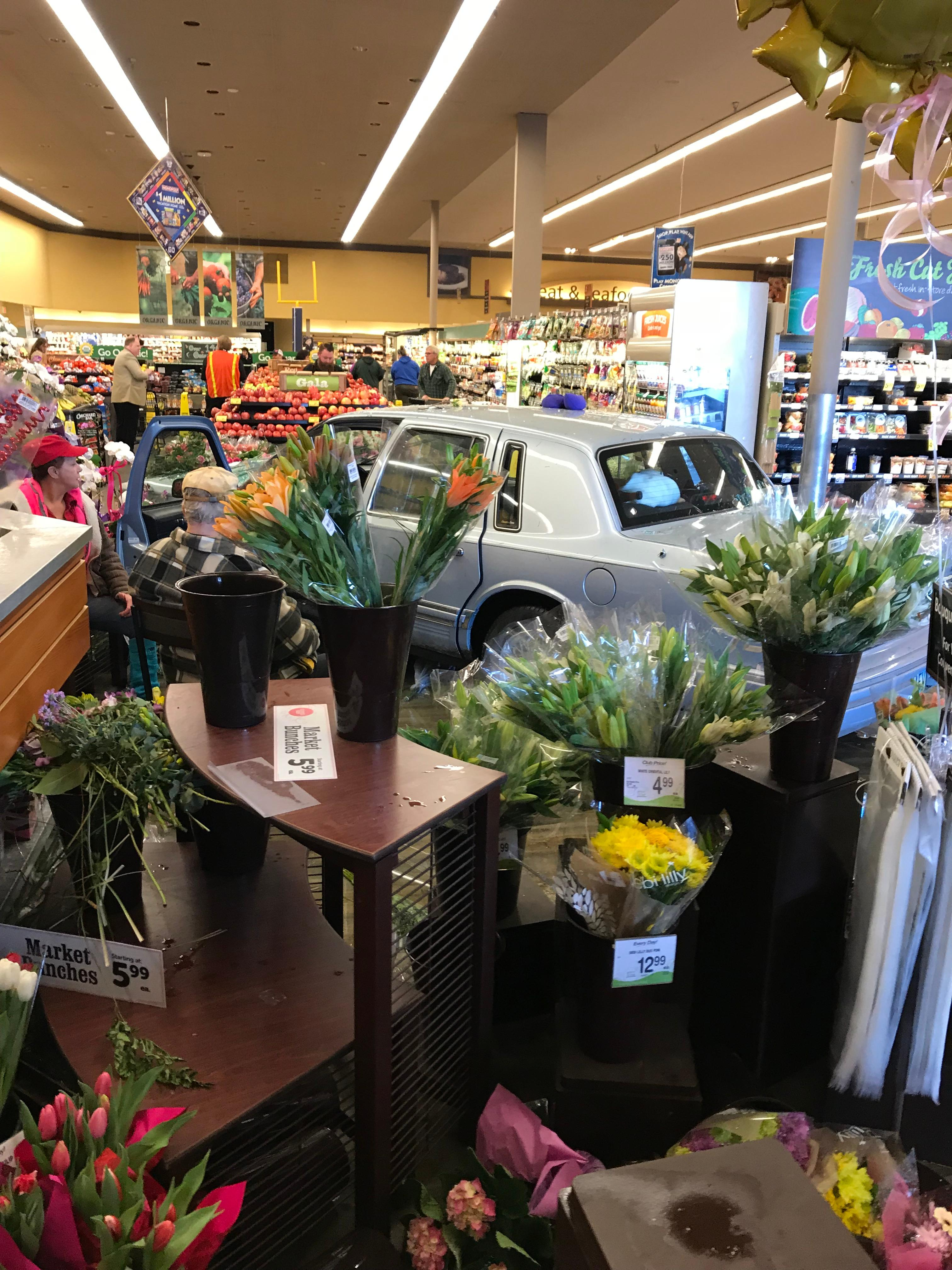 Nobody was seriously injured following an accident that took place at a Safeway in Junction City, when a 88-year-old man drove through the front entrance. (Photo Courtesy of Oregon State Police).<p></p>
