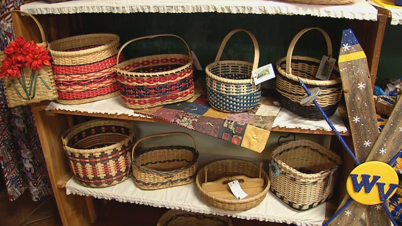 Handmade baskets are just one of the hundreds of items displayed and available for purchase. (WCHS/WVAH)
