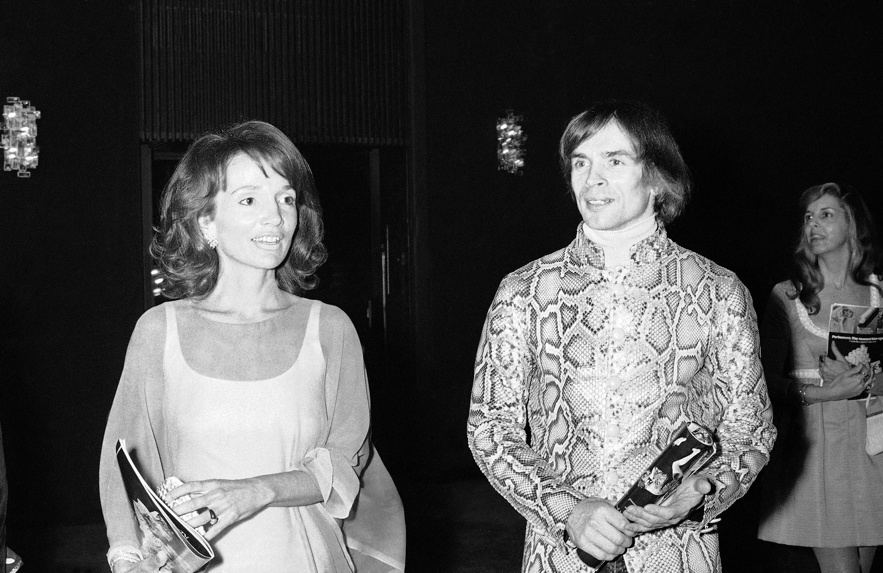 "FILE - In this May 8, 1974 file photo, dancer Rudolf Nureyev, right, and Princess Lee Radziwill talk together during intermission at a performance of ""Manon"" by the Royal Ballet at the Metropolitan Opera House at Lincoln Center in New York.s. (AP Photo, File)"