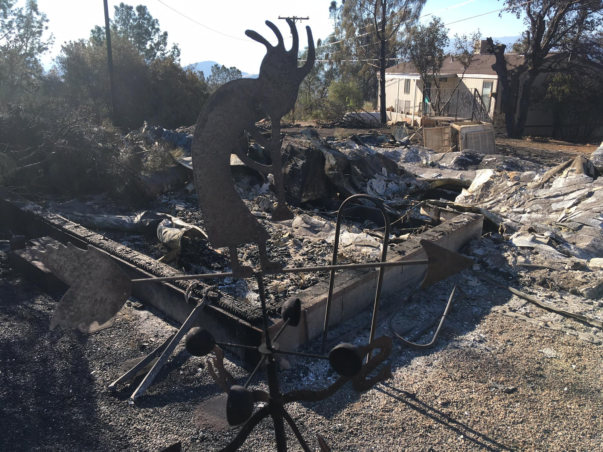 Damage from the Calgary Fire in Wofford Heights, Calif., is seen Monday morning, Aug. 7, 2017. (KBAK/KBFX/ Jacob Shaw)