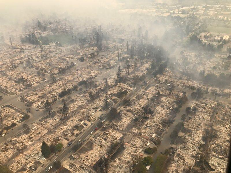 This picture shows the devastation in the neighborhood near Coffey Park in Santa Rosa.(Courtesy:{&amp;nbsp;}CHP – Golden Gate Division)<p></p>