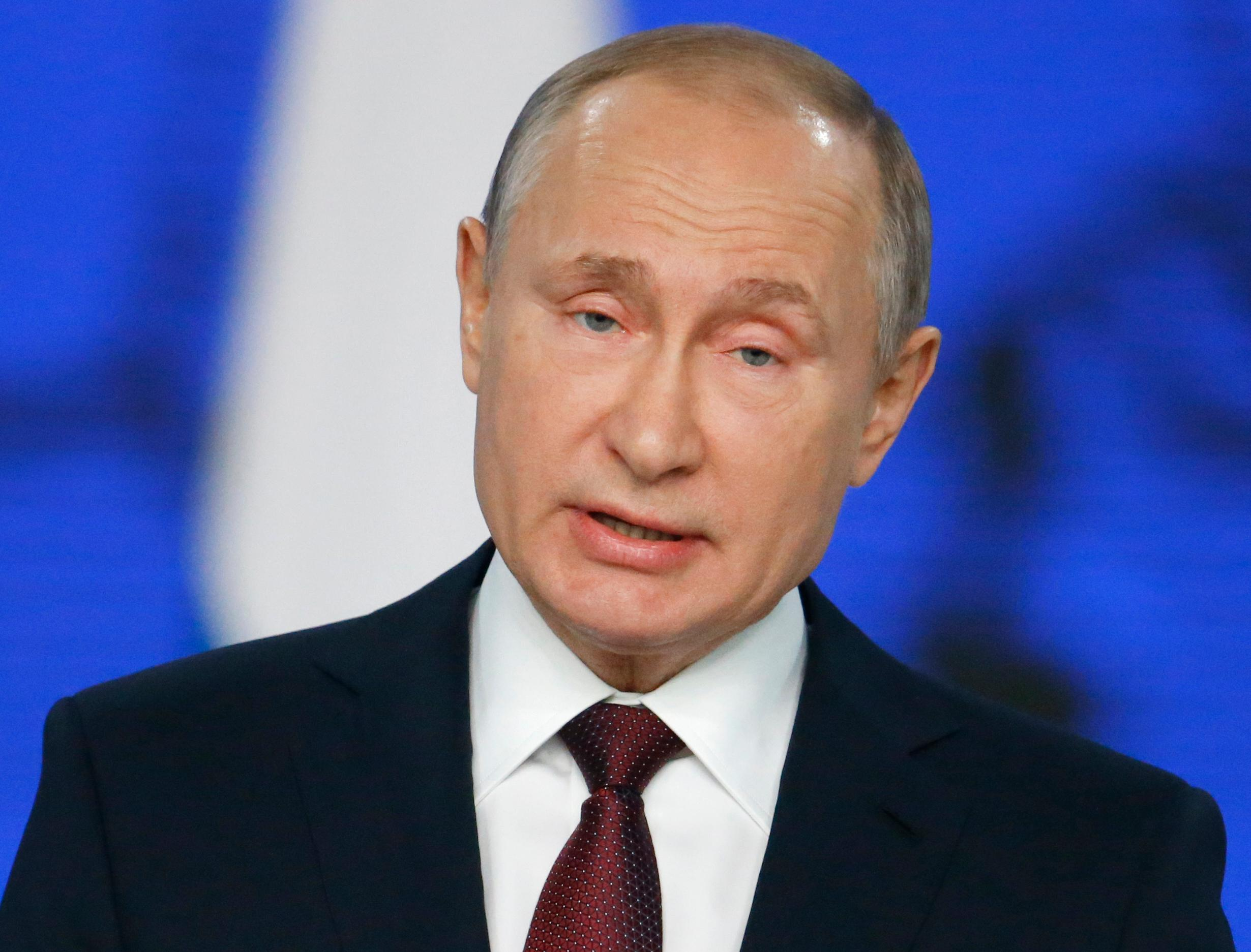 Russian President Vladimir Putin delivers a state-of-the-nation address in Moscow, Russia, Wednesday, Feb. 20, 2019. Putin said Russia needs to focus on raising living standards. (AP Photo/Alexander Zemlianichenko)