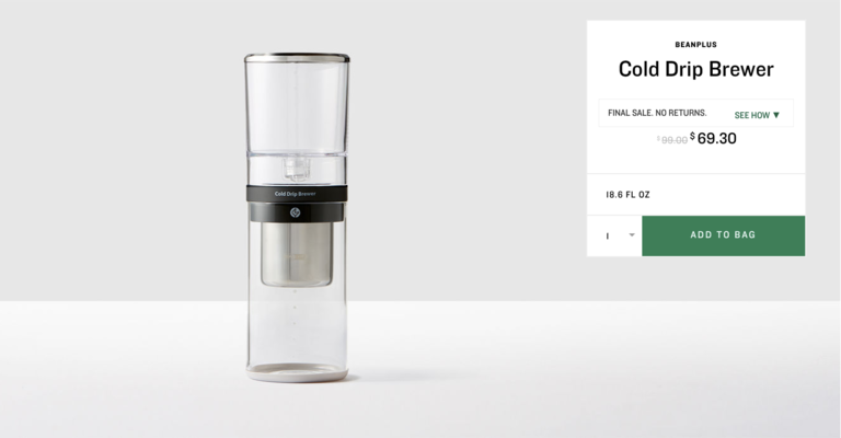 BeanPlus Cold Drip Brewer. $69.30 (previously $99). Buy at store.starbucks.com/sale. The online store is closing October 1, 2017 - you have until then to snap up these deals! (Image: Starbucks)