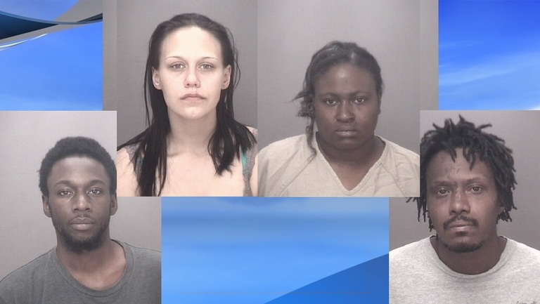 Four arrested on double murder charges in Robeson County (RCSO photos. WPDE background)