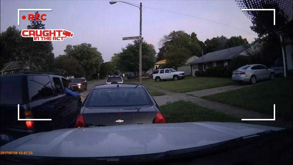 <p>Gahanna Police are now being asked to investigate a peculiar incident involving someone caught on video touching a parked car with her fingertips. (Courtesy: Johnathan Bowen) </p>