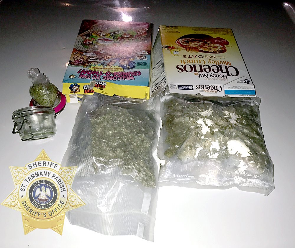 Authorities say a man speeding down an interstate in Louisiana has been arrested after deputies found 2 pounds (1 kilogram) of marijuana in cereal boxes. (St. Tammany Parish Sheriff's Office)