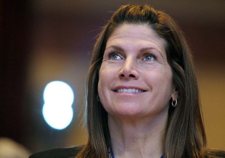 FILE - In this Feb. 12, 2011, file photo, then-Rep. Mary Bono, R-Calif., listens at the Conservative Political Action Conference (CPAC) in Washington. (AP Photo/Cliff Owen, File)