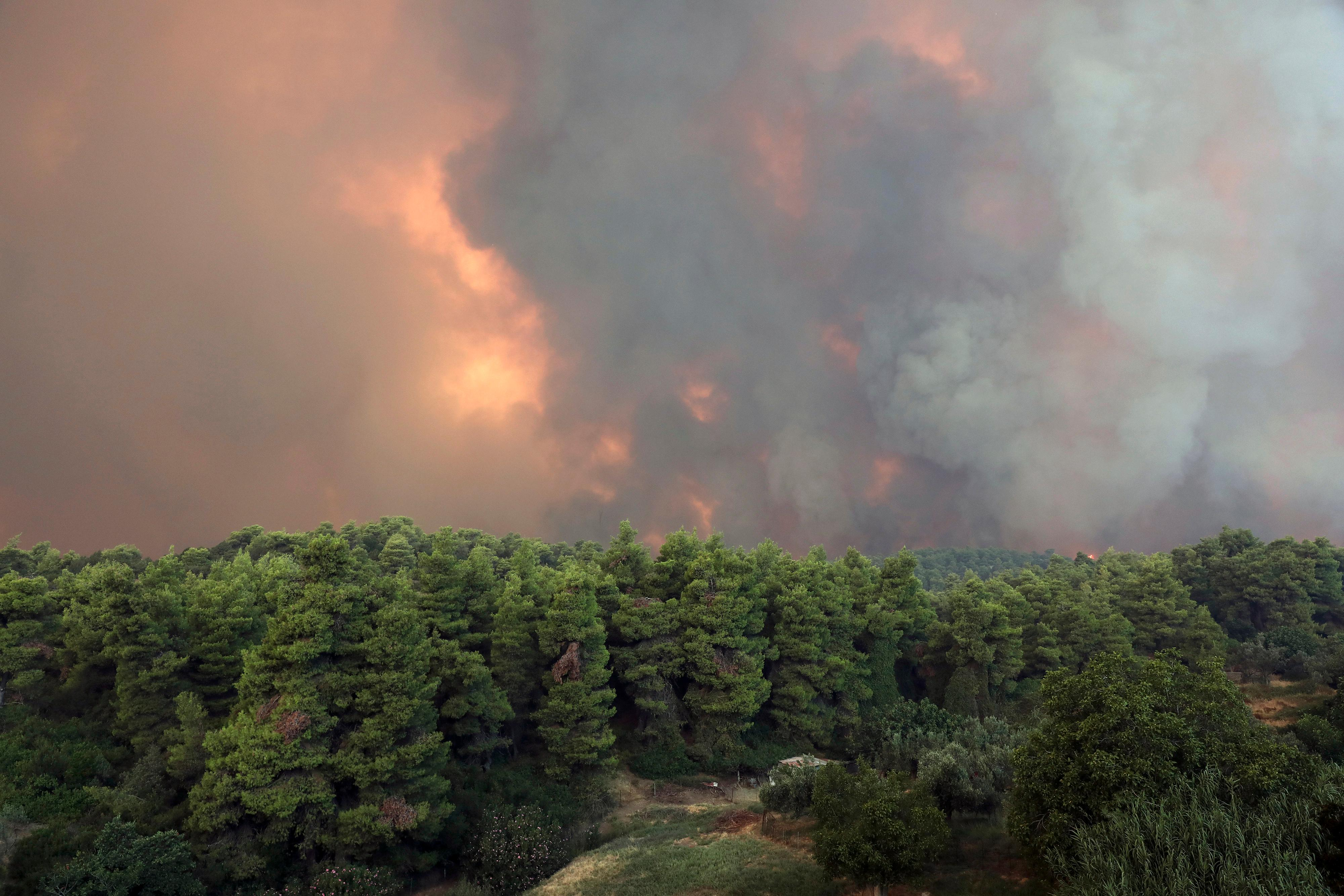 A huge cloud of smoke rise from a forest fire at Psachna village on the island of Evia, northeast of Athens, Tuesday, Aug. 13, 2019. (AP Photo/Yorgos Karahalis)