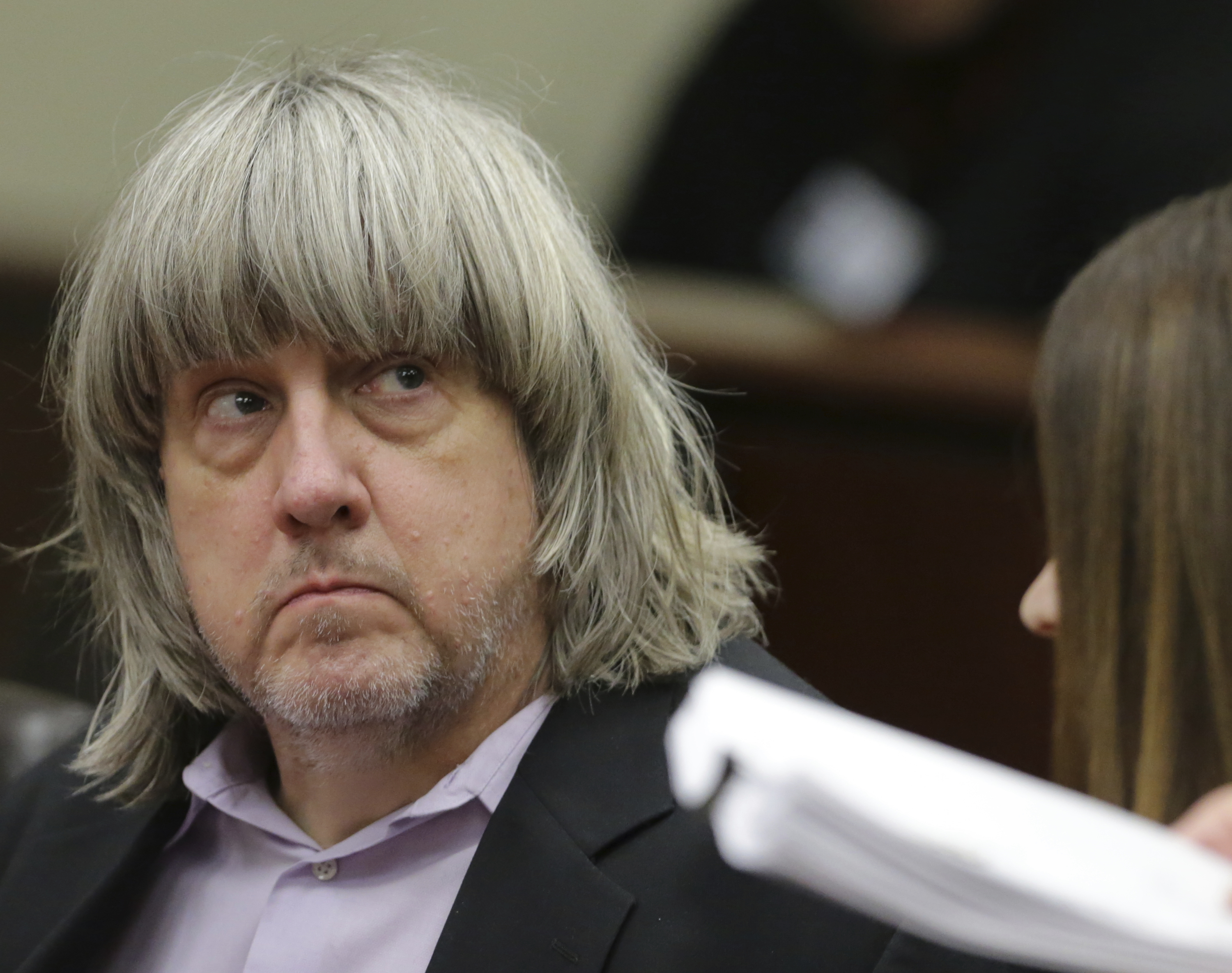 David Allen Turpin appears in court for his arraignment in Riverside, Calif., Thursday, Jan. 18, 2018. Prosecutors filed 12 counts of torture, seven counts of dependent adult abuse, six counts of child abuse and 12 counts of false imprisonment against Turpin and his wife, Louise Anna Turpin. Authorities say the abuse left the children malnourished, undersized and with cognitive impairments. (Terry Pierson/The Press-Enterprise via AP, Pool)